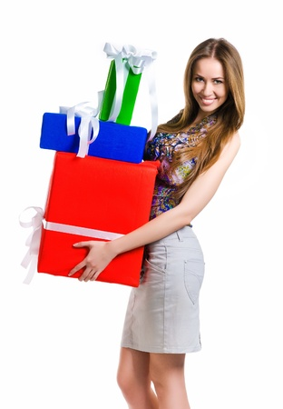 Pretty young woman with gifts