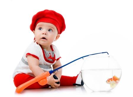 Cute little baby fishing photo