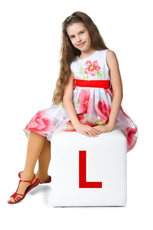 little kid on the block with letter Stock Photo - 10955668