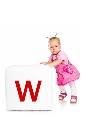 little kid on the block with letter Stock Photo - 10955626