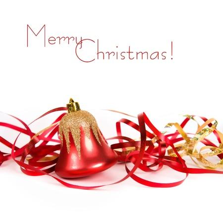 campanas de navidad: La Navidad Bell con la cinta roja Foto de archivo