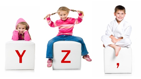 little kid on the block with letter Stock Photo - 11300575