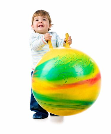 Little boy with the fitness ball photo