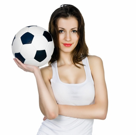 young adult woman with ball. over white background photo