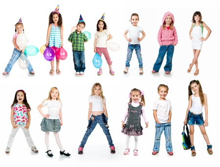 Kids in birthday caps isolated on white photo