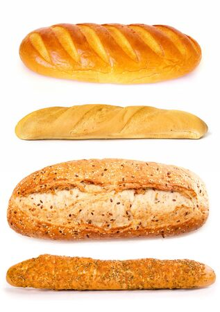 newly baked: Set of a  loafes  on a white background