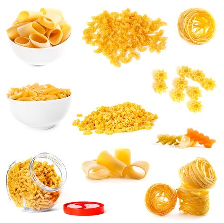 Raw noodles collection on a white background photo