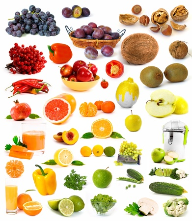 Big collection of vegetables on a white background photo