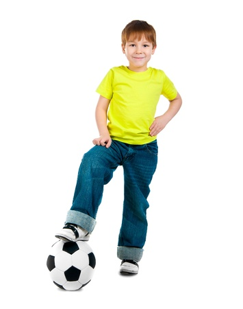Little boy with the ball over white backgrounf Stock Photo - 11980244