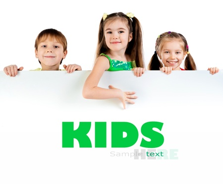 Cute little kids ower a white background photo