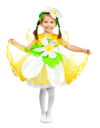 Little girl in camomile costume on white background photo