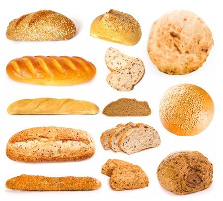 Juego de un pan sobre un fondo blanco