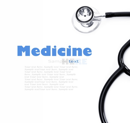 medical cure: Stethoscope on a white background closeup Stock Photo