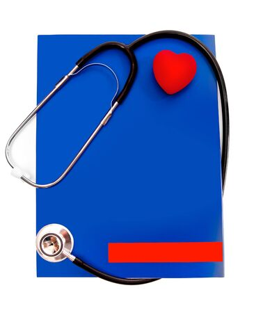 stethoscope and a red heart over a white background Stock Photo - 11987067