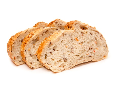 newly baked: newly baked bread on a white background Stock Photo