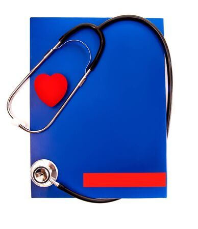 stethoscope and a red heart over a white background photo