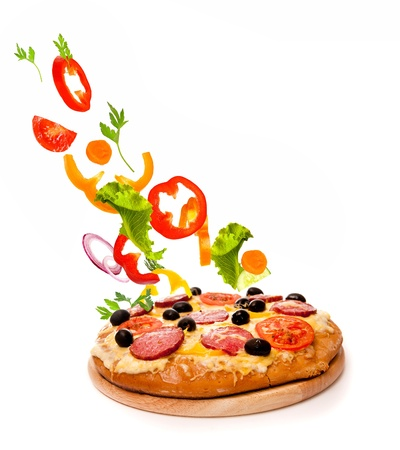 gourmet pizza: Pizza over a white background Stock Photo