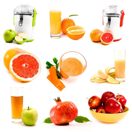 collage of fresh juice on a white background photo