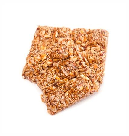 gozinaki: Honey bears with sunflower seeds on a white background