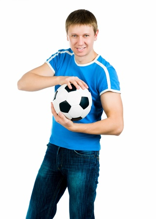 Young men with the ball over white backgrounf photo