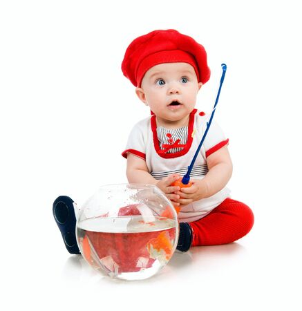 Cute little baby fishing  on white background photo