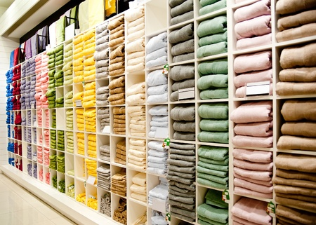 houseware: Big shelf with a colorful towels