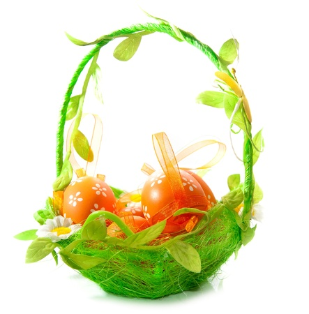 eggs on a green basket  white background Stock Photo - 12970597