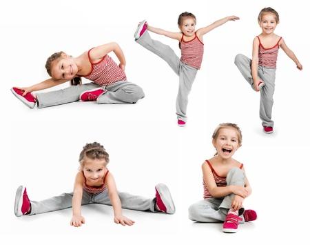 gymnastique: gymnaste jeune fille sur un fond blanc