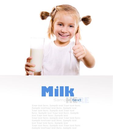 Portrait of a little girl holding a cup of milk, isolated on white photo