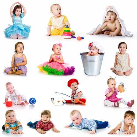 collection baby photos  on a white background photo
