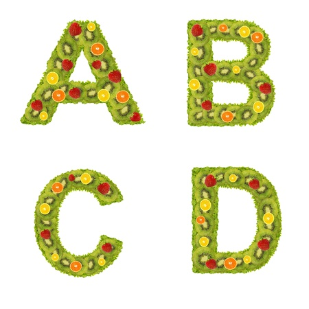 Alphabet from fruits isolated on a white background photo