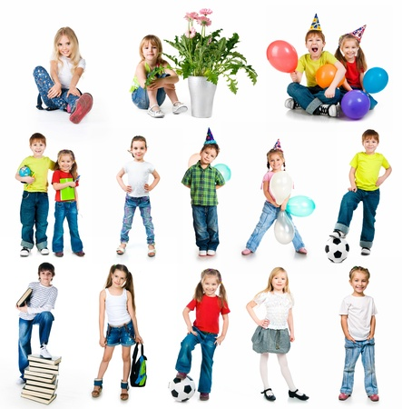set of a kids photos on white background photo
