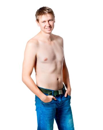 Healthy muscular young man  Isolated on white background  photo