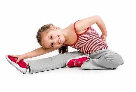 gymnastik: M�dchen Turnerin auf wei�em Hintergrund