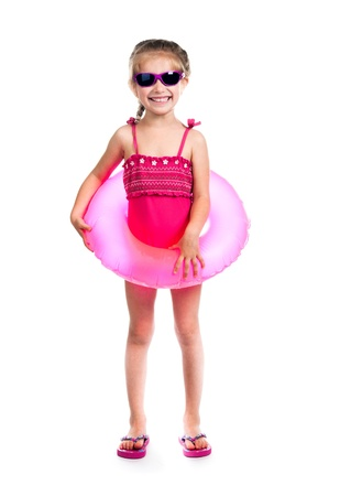 child swimsuit: studio shot of little girl in swimsuits