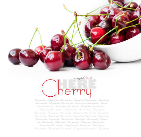 red cherries on a white background photo