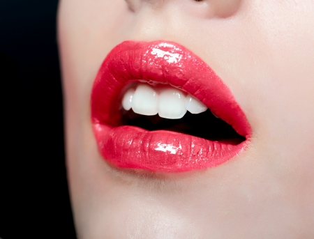 Sensual mouth  Red lipstick