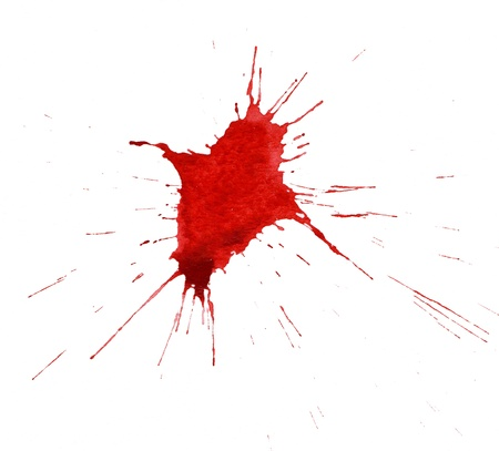 blood stain: Drop of red watercolor on white paper