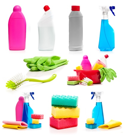 bright housekeeping: set of cleaning supplies photos isolated on white