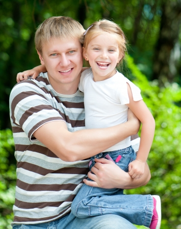 6 year old girl with her dad photo