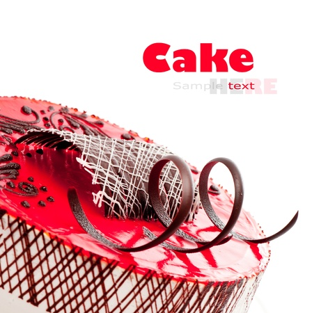 strawberry cake ower white background photo