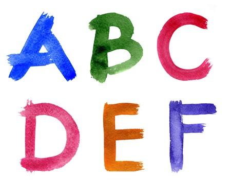 alfabeto graffiti: Acquerello alfabeto isolato su uno sfondo bianco