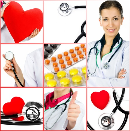 health collage: Group of medical photos  Collage  Health care