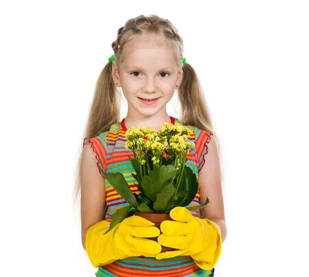 little girl holding a plant on a white background photo