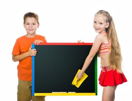 cute kids with a board  stodio shot photo