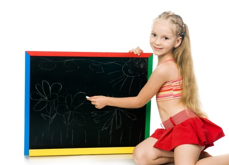 schoolgirls: little girl with a board  white background