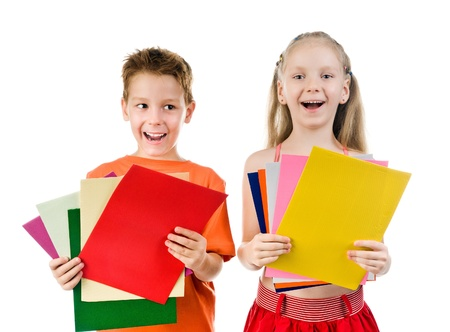 colored paper: small kids with the colored paper on a white background