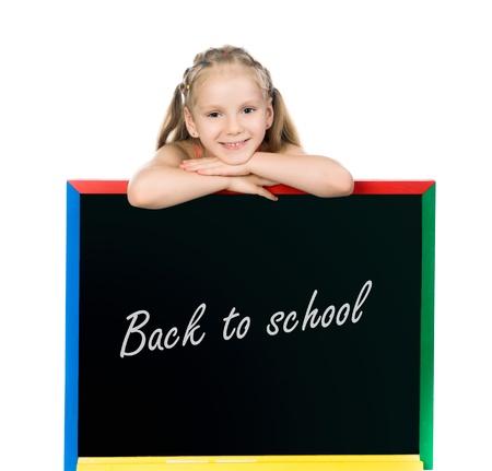stodio: beautiful little girl on a board  stodio shot Stock Photo