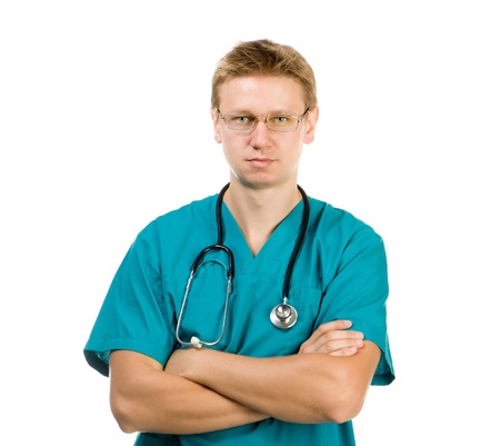 portrait of a medical doctor posing against white background Stock Photo - 16036250