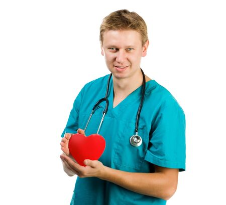 Male doctor with a heart in his hands on a white background Stock Photo - 16036264